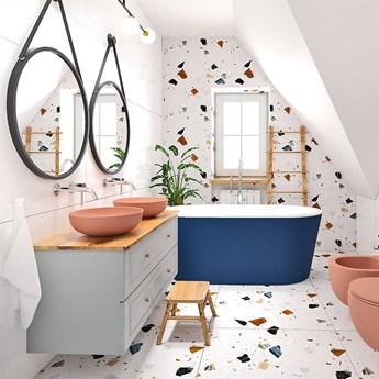 Zestaw łazienkowy 3w1 MOLIS SALMON Massi: miska WC, bidet, umywalka nablatowa