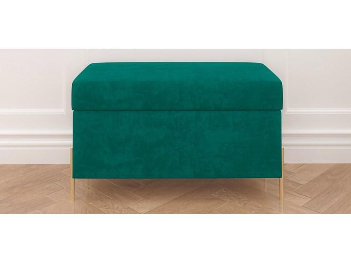 Zielona tapicerowana ławka Dancan BORGO z pojemnikiem, na złotych metalowych nogach Styl Minimalistyczny