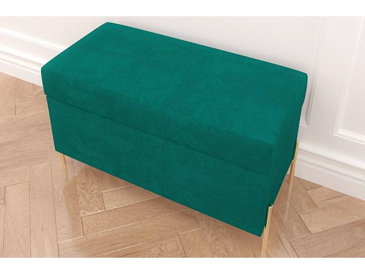 Zielona tapicerowana ławka Dancan BORGO z pojemnikiem, na złotych metalowych nogach Kolor Zielony Styl Minimalistyczny