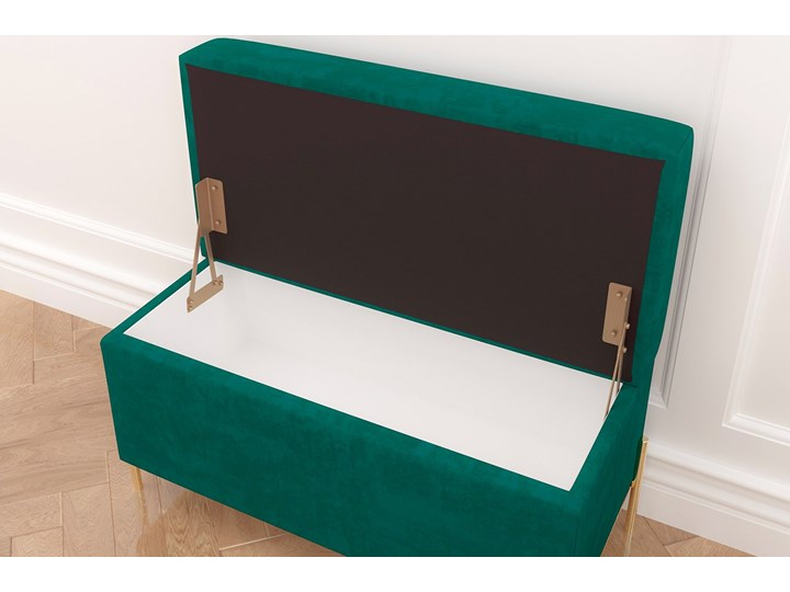 Zielona tapicerowana ławka Dancan BORGO z pojemnikiem, na złotych metalowych nogach Kolor Zielony
