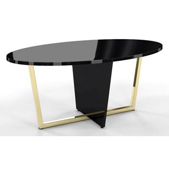 Czarny stolik kawowy Dancan ROCKET z czarnym szklanym blatem i złotą nogą