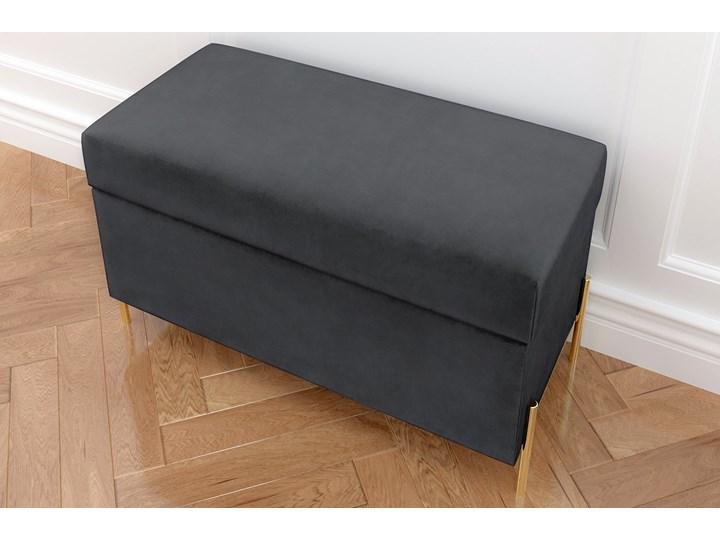 Szara tapicerowana ławka Dancan BORGO z pojemnikiem, na złotych metalowych nogach Materiał obicia Tkanina Styl Minimalistyczny