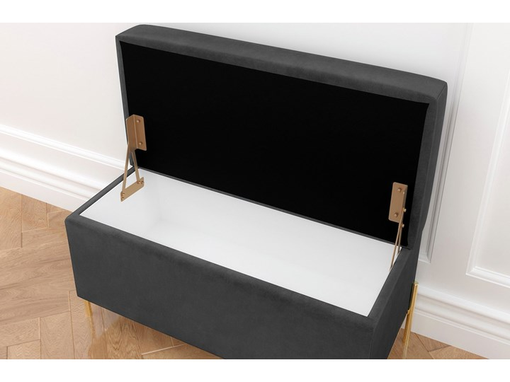 Szara tapicerowana ławka Dancan BORGO z pojemnikiem, na złotych metalowych nogach Styl Minimalistyczny