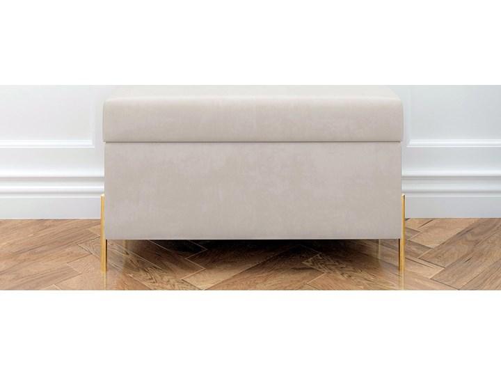 Beżowa tapicerowana ławka Dancan BORGO z pojemnikiem, na złotych metalowych nogach Styl Nowoczesny Materiał obicia Tkanina