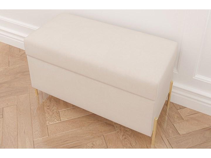 Beżowa tapicerowana ławka Dancan BORGO z pojemnikiem, na złotych metalowych nogach Styl Nowoczesny Styl Minimalistyczny