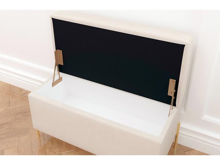 Beżowa tapicerowana ławka Dancan BORGO z pojemnikiem, na złotych metalowych nogach Kolor Beżowy Styl Nowoczesny