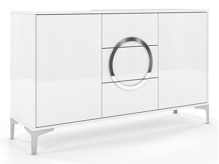 Biała nowoczesna komoda Dancan EVA   wysoki połysk Lustro Głębokość 38 cm Kolor Biały