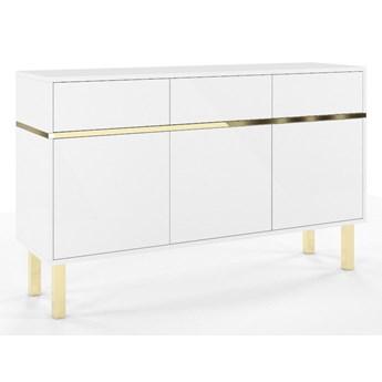 Elegancka biała komoda Dancan MAGICA ze złotymi dodatkami