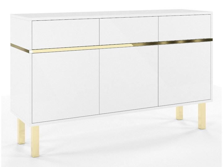 Elegancka biała komoda Dancan MAGICA ze złotymi dodatkami Wysokość 85 cm Pomieszczenie Sypialnia