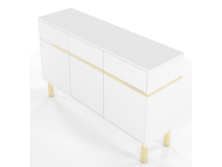 Elegancka biała komoda Dancan MAGICA ze złotymi dodatkami Wysokość 85 cm Styl Minimalistyczny Styl Nowoczesny