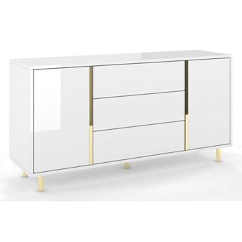 Elegancka biała komoda Dancan CAROLINE ze złotymi dodatkami