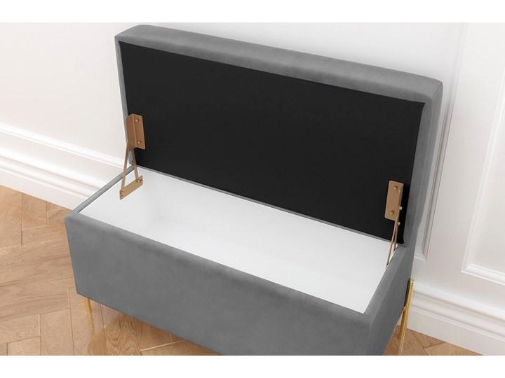 Jasnoszara tapicerowana ławka Dancan BORGO z pojemnikiem, na złotych metalowych nogach Styl Minimalistyczny Styl Nowoczesny