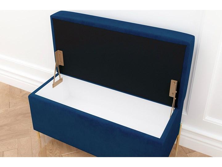 Granatowa tapicerowana ławka Dancan BORGO z pojemnikiem, na złotych metalowych nogach Materiał obicia Tkanina