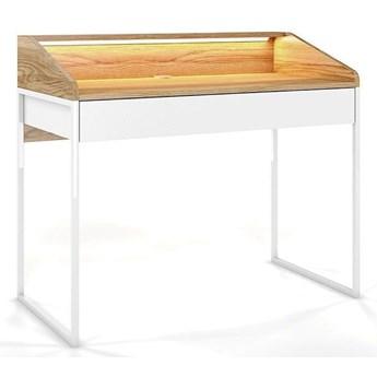 Nowoczesne biurko Dancan FINKA z oświetleniem / blat Jesion Górski, szuflada Biel Arktyczna, stelaż biały