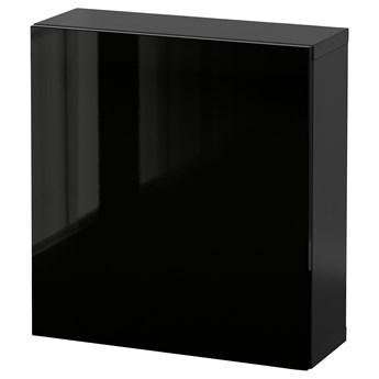 IKEA BESTÅ Kombinacja szafek ściennych, Czarnybrąz/Selsviken czarny, 60x22x64 cm