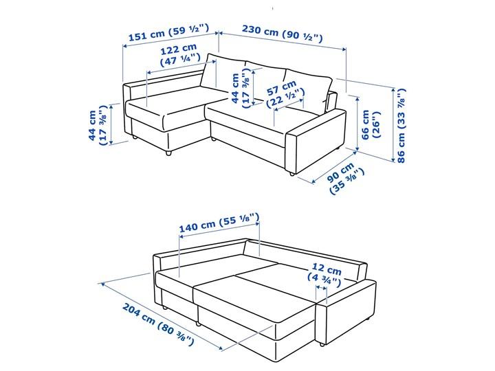 IKEA FRIHETEN Narożnik z funkcją spania, z dodatkowymi poduchami oparcia/Skiftebo ciemnoszary, Szerokość: 230 cm Lewostronne Kategoria Narożniki Rozkładanie Rozkładany