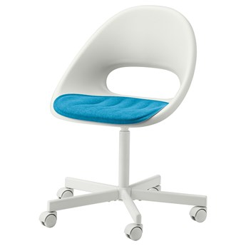 IKEA LOBERGET / BLYSKÄR Krzesło obrotowe z poduszką, Biały/niebieski, Przetestowano dla: 110 kg