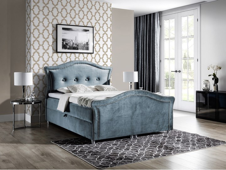 łóżko kontynentalne BEDRAN LUX : Powierzchnia spania łóżka - 180x200cm Pojemnik na pościel Z pojemnikiem Tkanina Łóżko pikowane Łóżko tapicerowane Styl Klasyczny