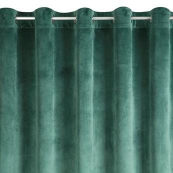 Zasłona Welwetowa Melanie 215x250cm - Ciemny Zielony - Przelotki