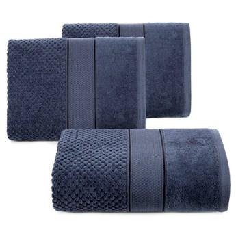 Ręcznik kąpielowy granatowy 50x90 frotte 500g/m2 elegancki z welurową bordiurą, Jessi
