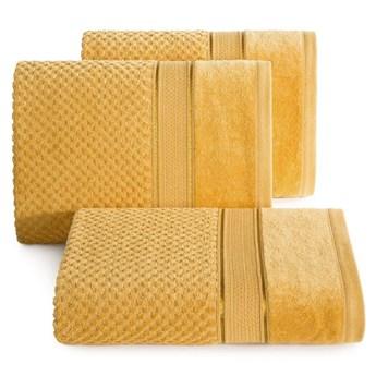 Ręcznik kąpielowy musztardowy 70x140 frotte 500g/m2 elegancki z welurową bordiurą, Jessi
