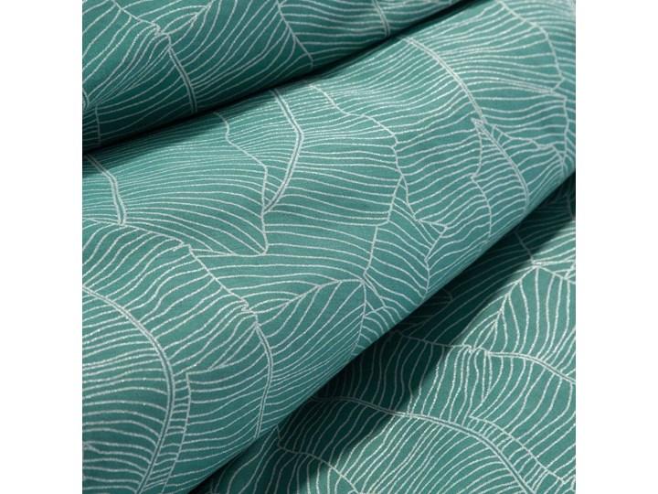 Pościel 220x200 satyna bawełniana turkusowa z metalicznym nadrukiem liście w kartonowym opakowaniu, wysokogatunkowy materiał Bawełna 200x220 cm Rozmiar poduszki 70x80 cm