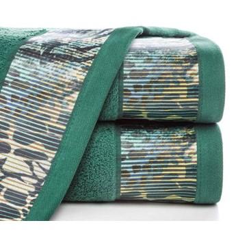 Ręcznik Eva Minge Carla ciemny zielony w rozmiarze 50x90 z drukowaną bordiurą