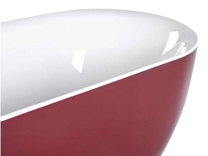 Wanna wolnostojąca czerwona akrylowa 170 x 80 cm system przelewowy owalna nowoczesna Kolor Czerwony Wolnostojące Długość 170 cm Kategoria Wanny