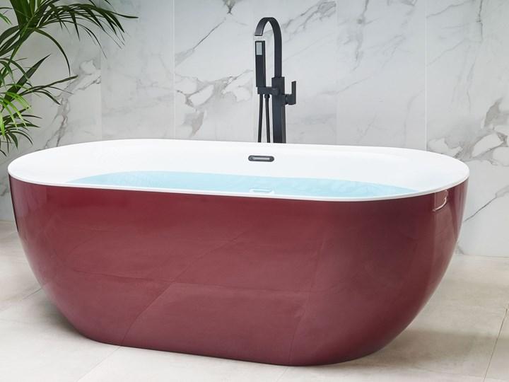 Wanna wolnostojąca czerwona akrylowa 170 x 80 cm system przelewowy owalna nowoczesna Wolnostojące Długość 170 cm Kolor Czerwony