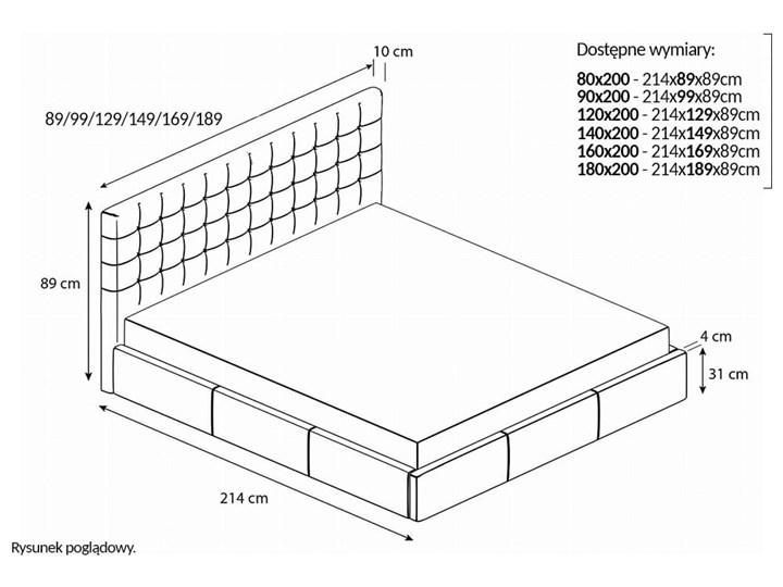 Nowoczesne łóżko do sypialni z pojemnikiem VERO / kolory do wyboru Tkanina Metal Drewno Rozmiar materaca 160x200 cm