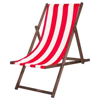 Leżak drewniany impregnowany z materiałem w czerwone paski