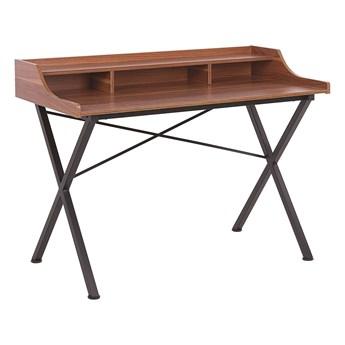 Biurko ciemne drewno z czarnym metalowa rama 120 x 60 cm z półką i przegródkami