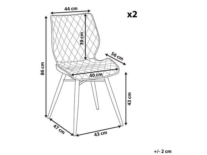Zestaw 2 krzeseł niebieskich tapicerowanych z metalowymi czarnymi nogami do jadalni styl nowoczesny industrialny Wysokość 86 cm Tapicerowane Tworzywo sztuczne Głębokość 56 cm Szerokość 44 cm Tkanina Drewno Pikowane Pomieszczenie Jadalnia