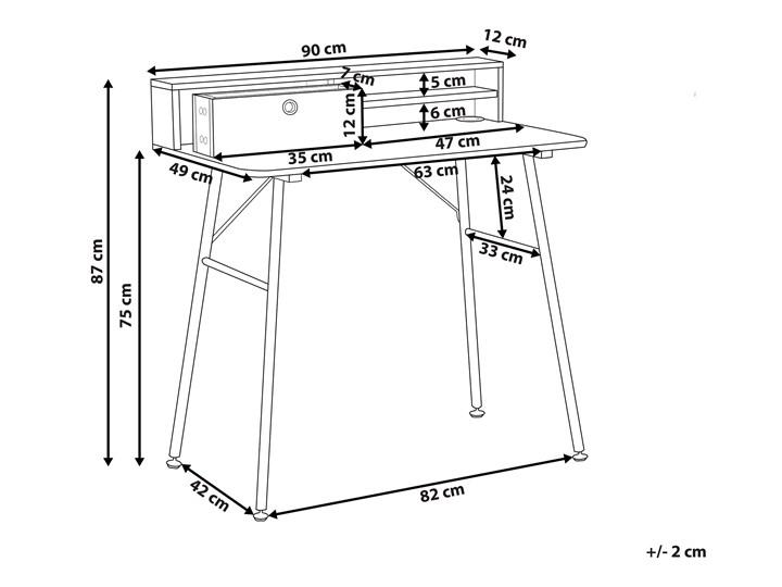 Biurko jasne drewno z czarnym metalowa rama 90 x 50 cm biurko komputerowe z połką i przegródką Płyta MDF Szerokość 90 cm Styl Nowoczesny Kategoria Biurka