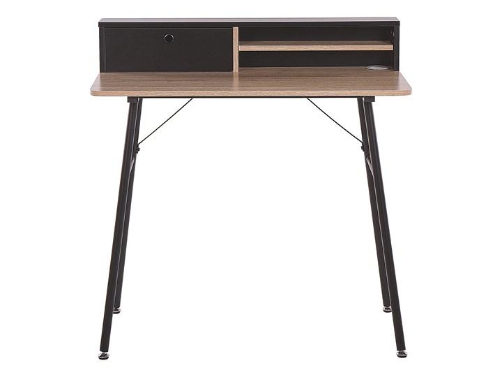 Biurko jasne drewno z czarnym metalowa rama 90 x 50 cm biurko komputerowe z połką i przegródką Płyta MDF Szerokość 90 cm Styl Nowoczesny