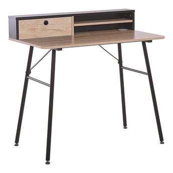 Biurko jasne drewno z czarnym metalowa rama 90 x 50 cm biurko komputerowe z połką i przegródką
