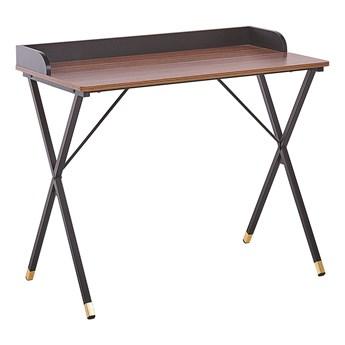 Biurko ciemne drewno z czarnym metalowa rama 90 x 50 cm małe biurko na home office złote akcenty