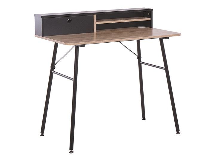 Biurko jasne drewno z czarnym metalowa rama 90 x 50 cm biurko komputerowe z połką i przegródką Szerokość 90 cm Płyta MDF Styl Nowoczesny