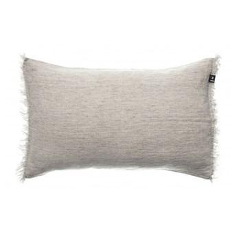 Szara poduszka dekoracyjna Levelin z lnu z wypełnieniem puchem kaczym 40x60 HIMLA