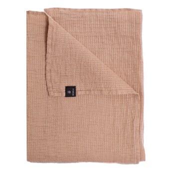 Różowy Nude lniany ręcznik 70x135 Fresh Laundry w waflowy wzór HIMLA
