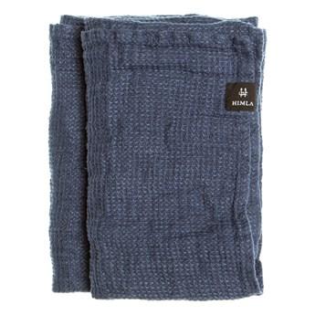 Niebieski lniany ręcznik 70x135 Fresh Laundry w waflowy wzór HIMLA