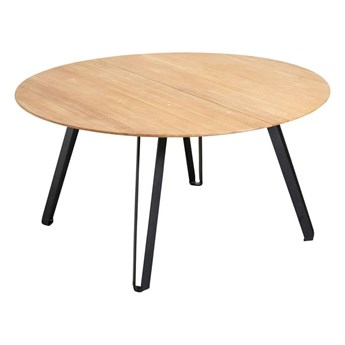 Okrągły rozkładany stół do jadalni Space Natural 150 z drewna dębowego i żelaza MUUBS