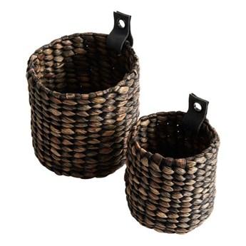 Zestaw dwóch małych koszyków z hiacyntu w ciemnym kolorze MUUBS