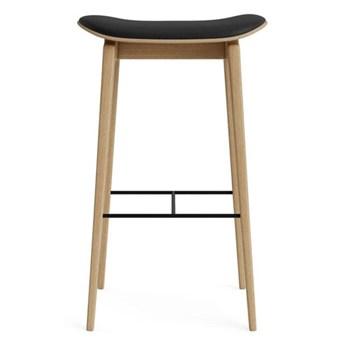 Hoker stołek barowy NY11 65 - drewno dębowe Nature skóra black NORR11