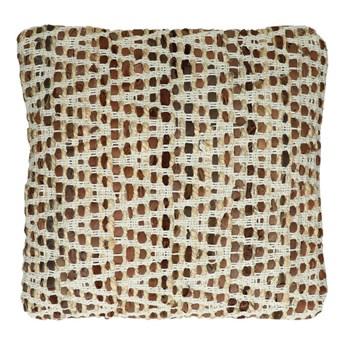 Duża naturalna poduszka dekoracyjna Madagascar 45x45 z juty i skóry POMAX