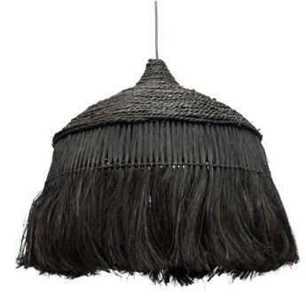 Duża czarna lampa sufitowa Abaca Hoola z trawy abaca BAZAR BIZAR