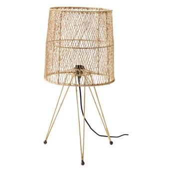 Ażurowa lampa stołowa nocna z rafii i żelaza TINE K HOME