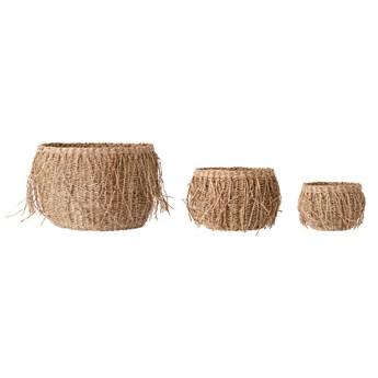 Zestaw 3 naturalne kosze z trawy morskiej BLOOMINGVILLE