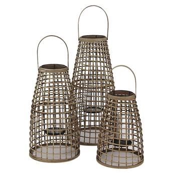 Zestaw 3 dużych lampionów z bambusa POMAX
