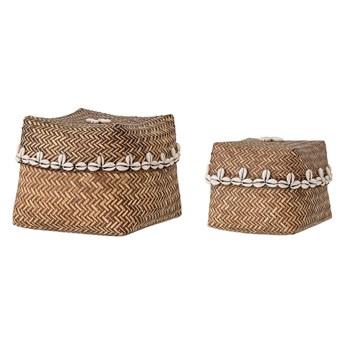Zestaw 2 koszyki bambusowe z ozdobnym motywem z muszli BLOOMINGVILLE